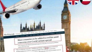 صورة صحيفة التلغراف البريطانية : بريطانيا ستضيف الكويت والبحرين  إلى القائمة الحمراء