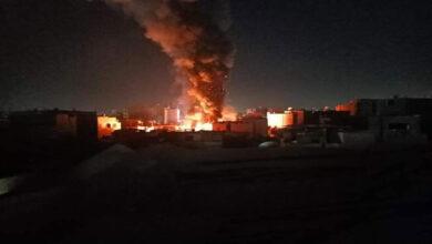 صورة حريق مهول في معرض سجاد بمصر