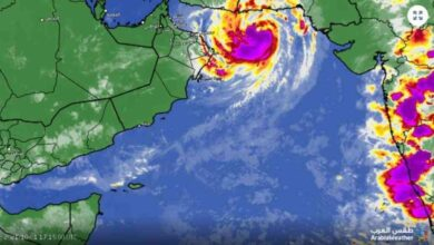 صورة مناطق بالسعودية تتأثر بالإعصار شاهين